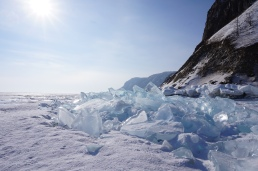 The shore of Olkhon Island breaks the ice.