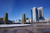 The Kazakhstani parliament (to the right)