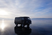 We were taken across Lake Baikal in this old Russian military van.