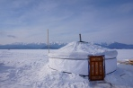 Fishermen can stay in these heated huts for weaks at a time fishing Omul.