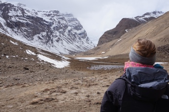 Gitte looking towards Engels Peak.