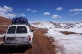 Crossing the Kizil Art Pass at the Kyrgyz-Tajik border.