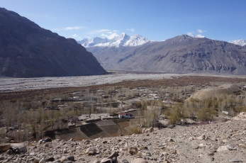Langar from above. The mountains on the other side are Afghanistan.
