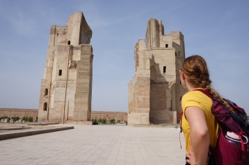 Remains of Amir Timur's Summer Palace (Ak-Saray). Incredibly tall!
