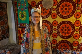 A local souvenir seller in the old city dressed Gitte up for pictures.
