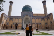 A random guy offered to take a picture of us in front of Gur-E-Amir Mausoleum. He turned out to be our new German friend, Carsten.