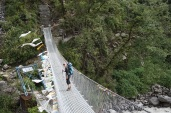 A number of suspension bridges allows the trail to cross the Langtang Khola River