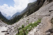 A new path has been built through a landslide near Ghoratabela.