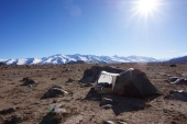 Our first camp on a high plateau above the Alichur River