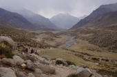 Walking down through the valley on the other side of Dolma La.