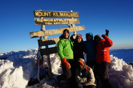 Ulrik, Gitte, Tine, Issa and Michael on top of Kilimanjaro