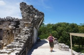 Gitte walking in what was once a gallery of the Palace, Palenque
