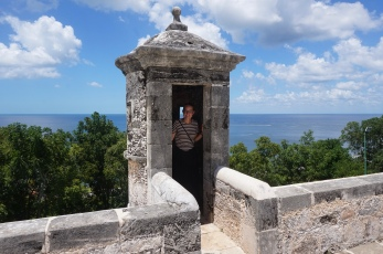 Gitte in a lookout tower at the Fort of San Miguel