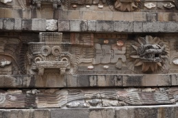Diety figures on the Temple of the Feathered Serpent