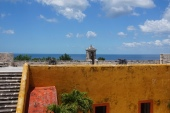 The view over the Caribbean Ocean from the Fort of San Miguel